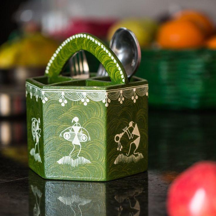 Warli Handpainted Wooden Cutlery Cum Stationery Holder In Green | #simple #Decor #DeskAccessories #simple, #Decor, #DeskAccessories,