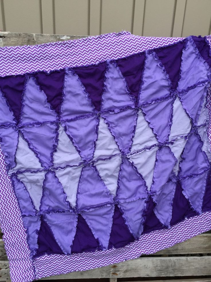 Girl Rag Quilt Purple Baby Blanket with Chevron Border READY TO SHIP
