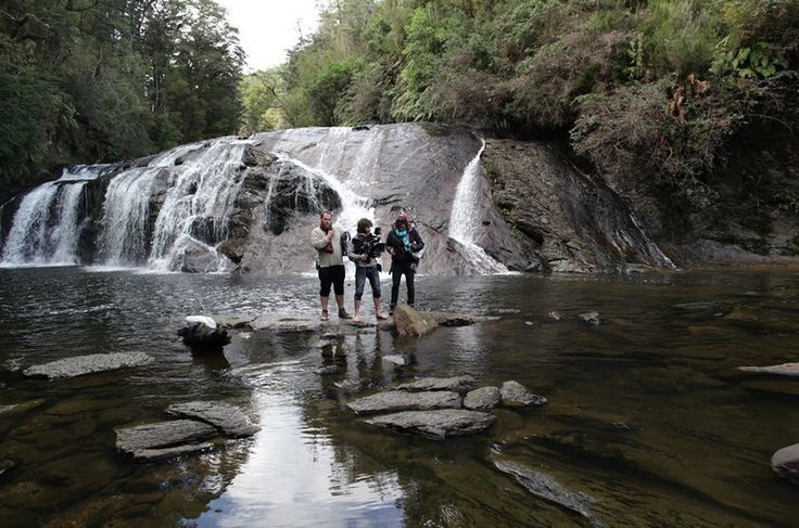 Director Jordan Dodson, DP Alan Waddingham, and 1st AC Alyssa Kath at Coal Creek Falls just outside of Greymouth in the South Island of New Zealand.