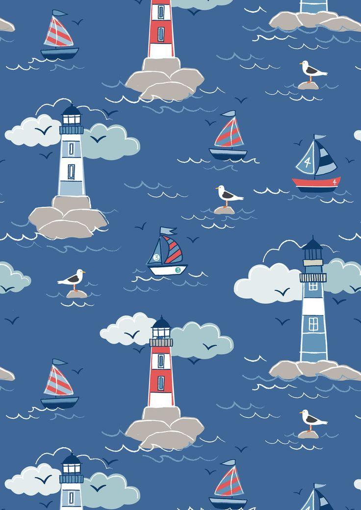 Lewis & Irene Fabrics Coastal Lighthouse on Deep Sea Blue