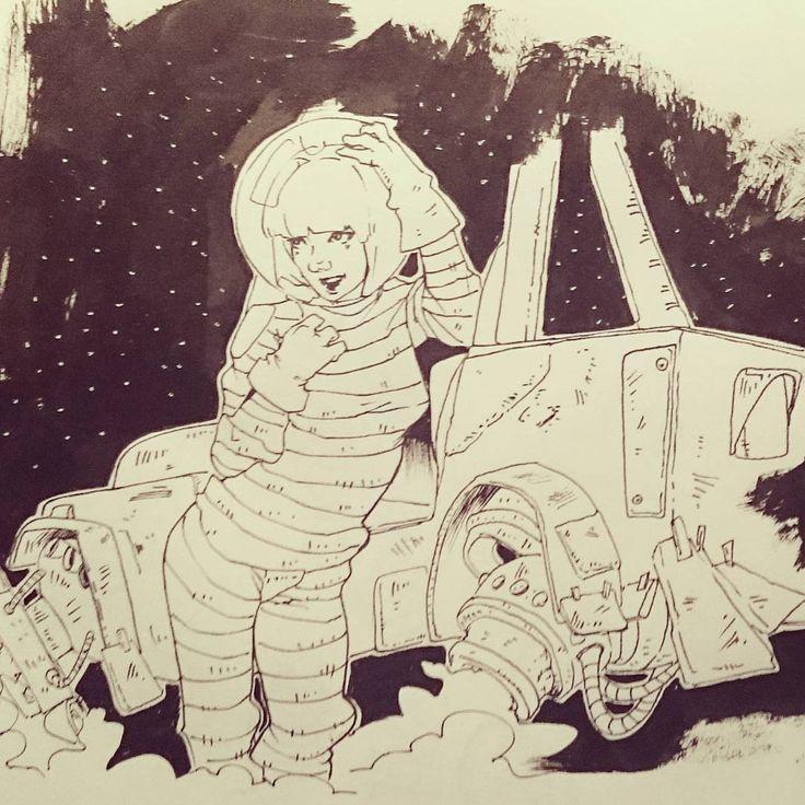 #draw #dibujo #ilustration #ilustracion #doodle #garabato #woman #mujer #art #arte #sketch #sketchbook #blackandwhite #blancoynegro #artoftheday #sketchoftheday #characterdesign #diseñopersonaje #astronaut #comic