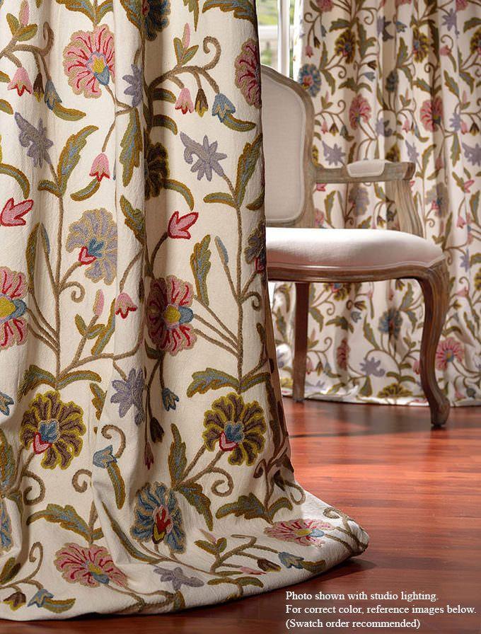 Marlow Embroidered Cotton Crewel Curtain - SKU: CRC-MYTH86 at https://halfpricedrapes.com
