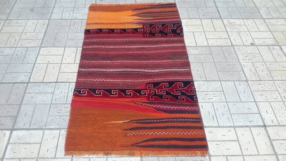 Handmade kilim. Old saddle bag rug.100 sheep by turkishrugman