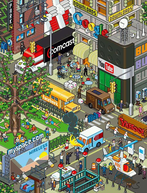 "Geography - Pixel Art - ""Communication City"" - smashingmagazine.com"