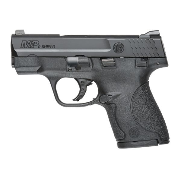 "Smith & Wesson M SHIELD™ 9mm MA Compliant  Model: M SHIELD™  Caliber: 9mm  Capacity: 7 Round & 8 Round  Action: Striker Fire  Barrel Length: 3.1"" / 7.874 cm  Front Sight: White Dot  Rear Sight: White 2-Dot  Overall Length: 6.1"" / 15.5 cm  Frame Width: .95"" / 2.413 cm  Overall Height: 4.6"" / 11.684 cm  Weight: 19.0 oz / 538.7 g  Frame Material: Polymer  Barrel/Slide Finish: Black Melonite® 68 HRc  Trigger Pull: 10.5 lbs. +/-  Sight Radius: 5.3"" / 13.3 cm"