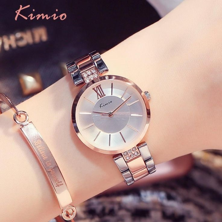KIMIO Simple Thin Rhinestone Rose Gold Quartz Watches Women Fashion 2018 Ladies