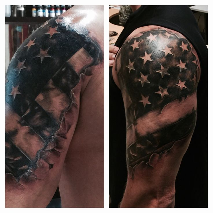 Image result for black and white american flag shoulder tattoo