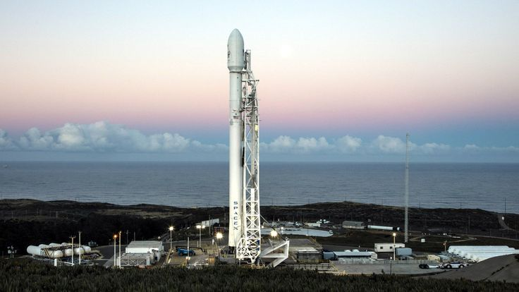SpaceX's Falcon 9 rocket on the launch pad at Vandenberg Air Force Base on January 14, 2017.