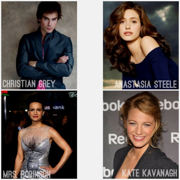 Fifty Shades of Grey Dream Cast: Ian Somerhalder as Christian Grey, Emmy Rossum as Anastasia Steele, Carla Gugino as Mrs. Robinson and Blake Lively as Katherine Kavanagh.