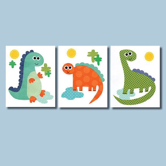 Dinosaur nursery artwork print baby room decoration for Dinosaur themed kids room