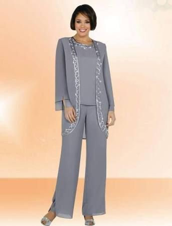 Image result for chiffon overcoat and trouser suit blue grey
