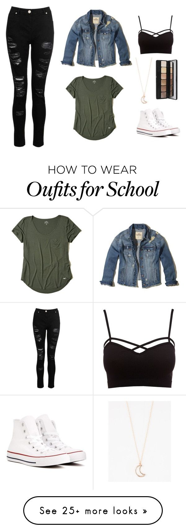 Basically looks like this dress denim jacket converse example -  School 79 By Annao133 On Polyvore Featuring Dorothy Perkins Hollister Co Jean Jacketsdenim Jacketsteen School Outfitsteen
