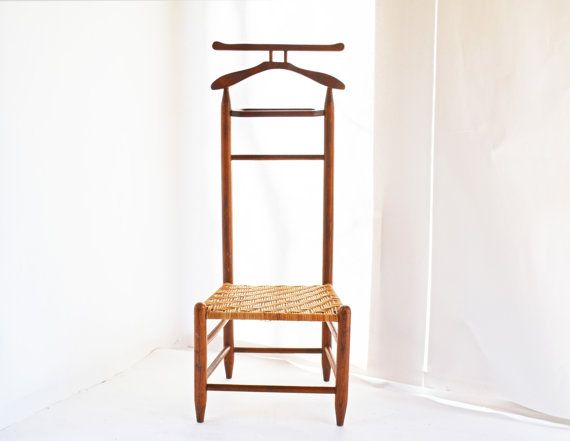 Vintage Valet Chair, Clothes Valet, Men's Valet, Valet Stand, Suit Valet,  Wicker Bottom Wooden Valet, Dressing Chair, Clothing Organizer | Gifts |  Pinterest ... - Vintage Valet Chair, Clothes Valet, Men's Valet, Valet Stand, Suit