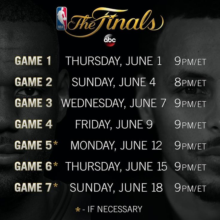 The NBA Finals schedule *Bookmark for later*