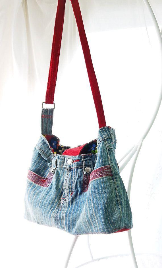 Upcycled Denim portemonnee, Jean Top portemonnee, Denim tas, voorzien Jeans zak, tas van de vrouw, Hobo tas, grote zak, grote portemonnee, tiener zak, tas
