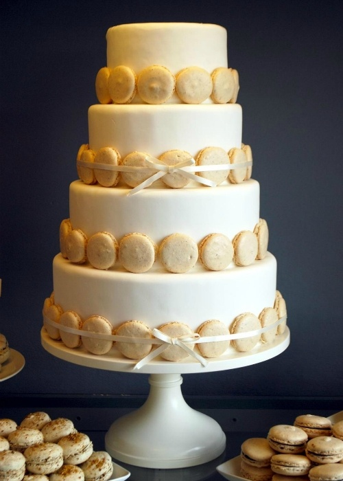 Ivory Pedestal Cake Stand. The perfect combo of macroons and cake for your wedding. Cake design by Crooked Tree Coffee and Cakes.