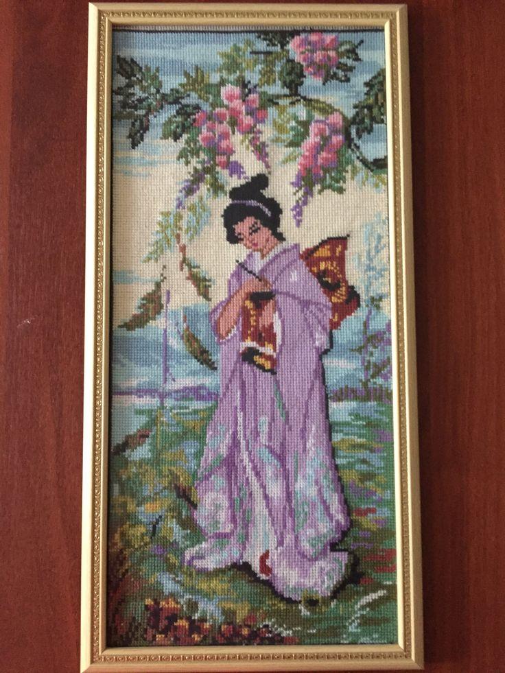 "Completed cross stitch, Home decoration, Framed cross stitch, Handmade embroidery - ""Geisha"". by NattikStudio on Etsy"