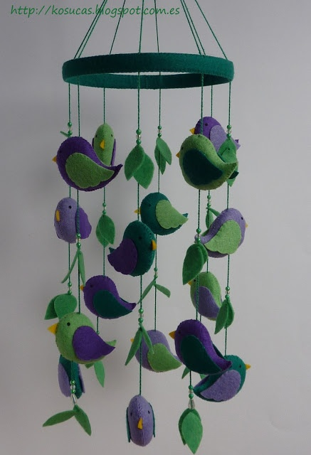 Felt mobile with birds  I really love the colors!