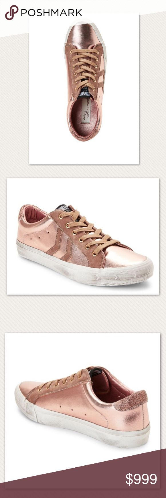 Vintage Havana Metallic Sneakers Authentic new with box. Metallic upper, round toe, faux suede overlays, lace up closure Interior lining, lightly cushioned insole, padded collar, vintage style sole (outsole are made to look worn) Accompanied by dust bag Man made upper/lining/sole Imported. Color: Rose Gold, Women's Size 11 ❗️No Trade❗️ Vintage Havana Shoes Sneakers