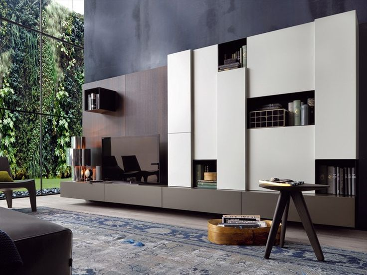 MODULAR WOODEN TV WALL SYSTEM SINTESI DESIGN BY CARLO COLOMBO | POLIFORM
