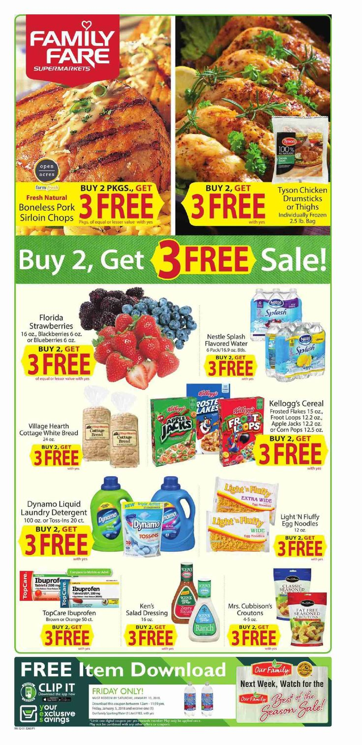 Family fare Weekly Ad January 3 – 9, 2018 – Family fare weekly circular comes on th scene almost obtain but quite often people see the Family fare ad and they are quick to throw it out. Checking the ads every single week and clipping out the coupons that can come from the weekly circulars can actually be an incredibly rewarding experience. Family fare regularly includes coupons that may equate his almost as much as 50% off your purchase. Because of this you could