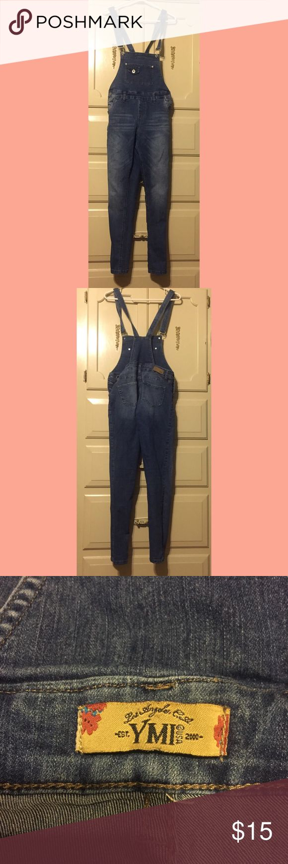Denim Overalls These are Skinny jean fitting overalls that have been slightly worn but are in great condition no show of wear! Listed as a size nine but they are a little to tight on me and I wear a size 7 in American eagle jeans so I'll list them as a 6! I do accept offers but no trades (: YMI Jeans Overalls