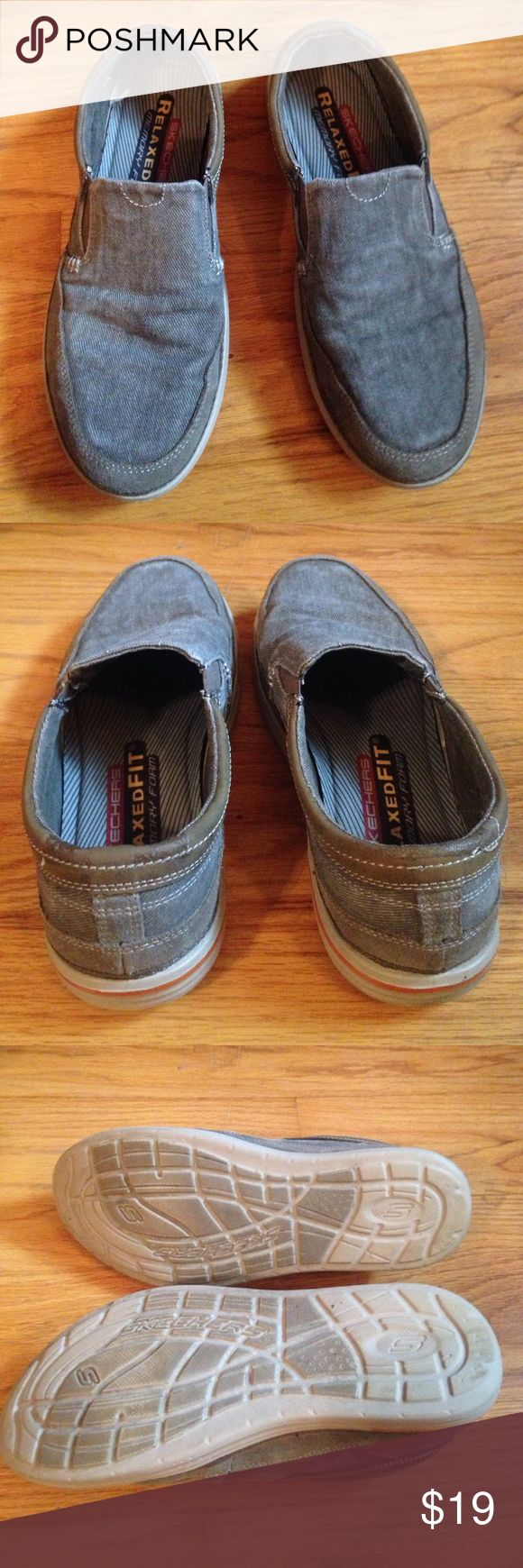 Skechers Relaxed Fit sz 9 MEN'S slip on shoes Skechers Relaxed Fit sz 9 MEN'S slip on shoes. Memory foam insole. Textile and leather upper. Very comfortable. Gray and brown upper with tan and orange rubber sole. Skechers Shoes Loafers & Slip-Ons