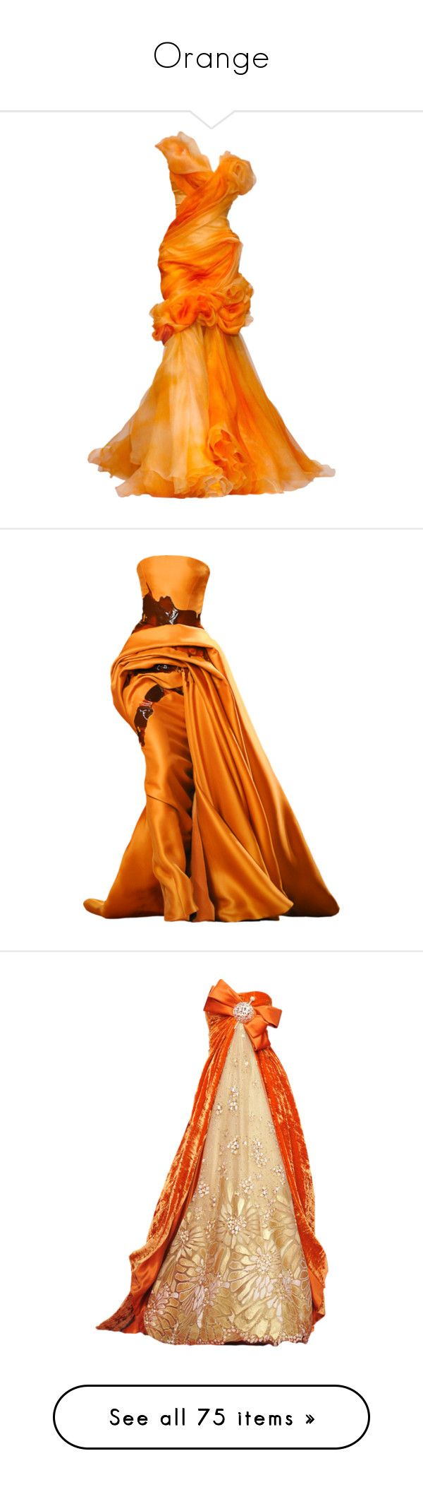 """Orange"" by nocturnae ❤ liked on Polyvore featuring dresses, gowns, long dresses, vestidos, long dress, long orange dress, orange evening dress, orange evening gown, orange dress and beige long dress"