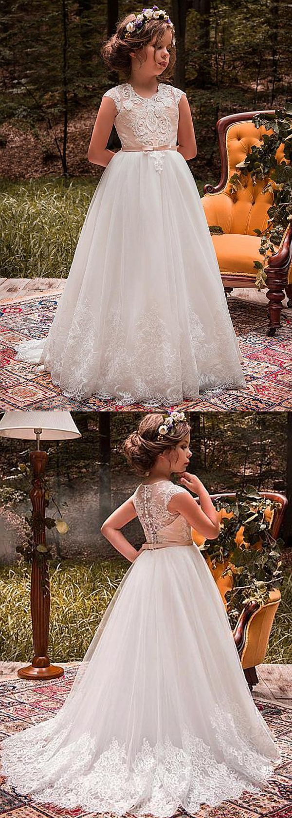 Chic Tulle Jewel Neckline Cap Sleeves A-line Flower Girl Dresses With Beaded Lace Appliques &…