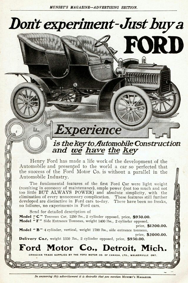 """Vintage Ford Ad - """"Don't experiment, just buy a FORD!"""""""