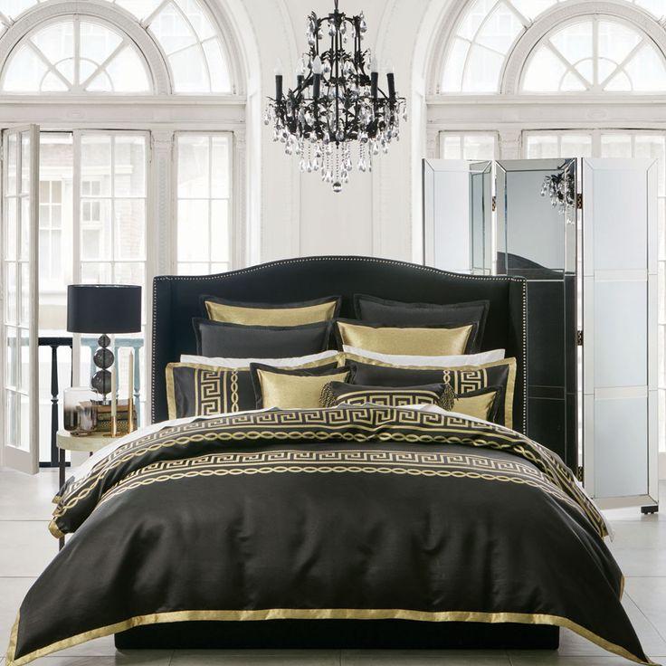 Athena Black Quilt Cover Set |  Da Vinci Glamour on THEHOME.COM.AU