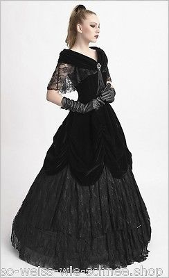 Punk-Rave-Gothic-Hochzeit-Abendkleid-Victorian-Samt-Ball-Kleid-Prom-Dress-Q273