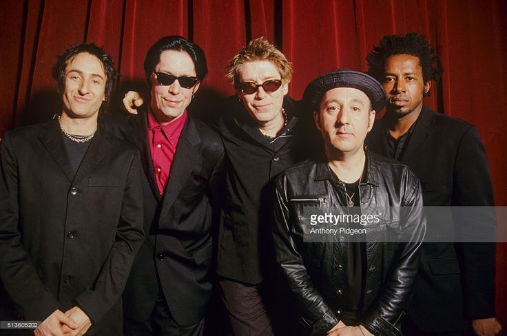 Portrait of The Psychedelic Furs backstage at The Fillmore in San Francisco, California, United States on 12th April, 2001. L-R Richard Fortus, Tim Butler, Richard Butler, John Ashton, Earl Harvin.