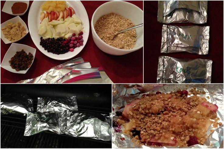 De la croustade aux fruits préparée par vos enfants et cuite sur le BBQ..oui!! :-)