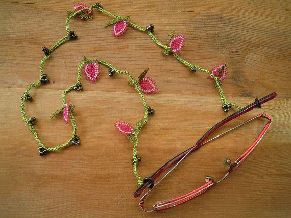 eye glass chain, green, pink Strawberry eyeglass chain...need it asap