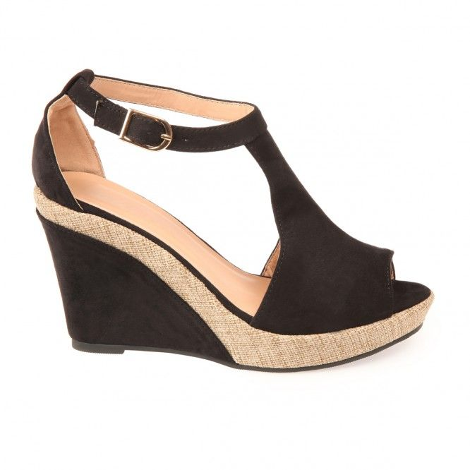 Sandales compensées bi-matière noir