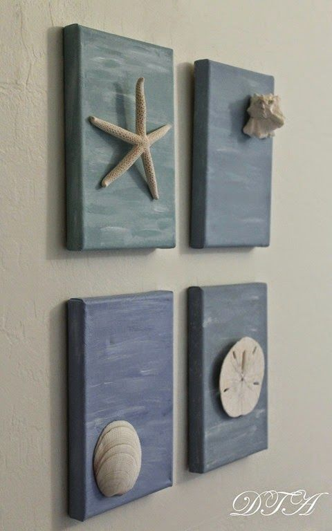 painted canvasses with shells