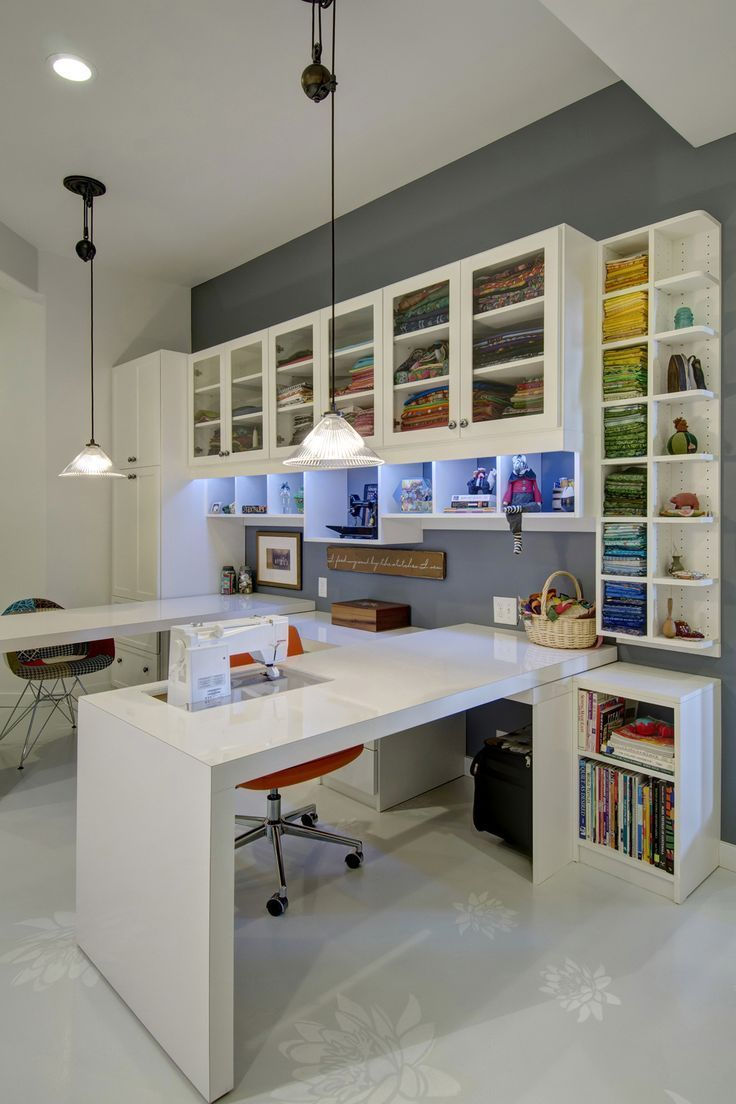 An all white design provides a blank slate in this custom sewing station, allowing your colorful supplies to pop behind glass doors.   I'd love to work on my blog http://www.sewinlove.com.au in an office like this.