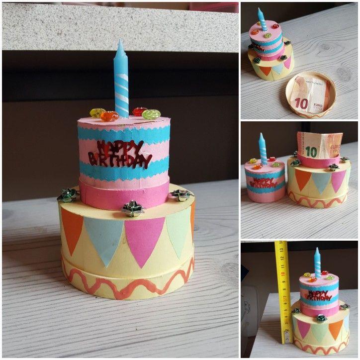 Verjaardagstaartje voor geld/snoep met 2 lagen die open kunnen