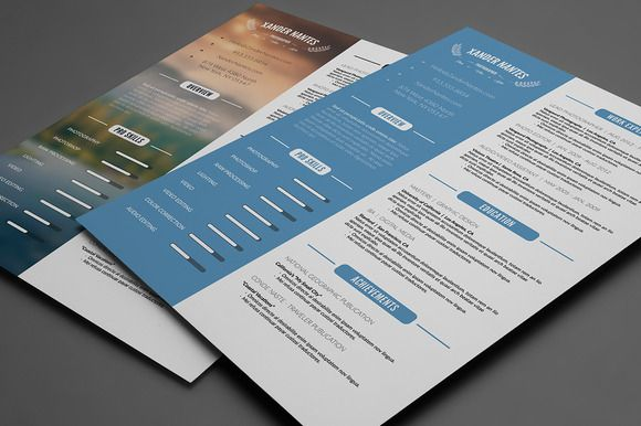 Clean Resume Template PSD by Cursive Q Designs on @creativemarket