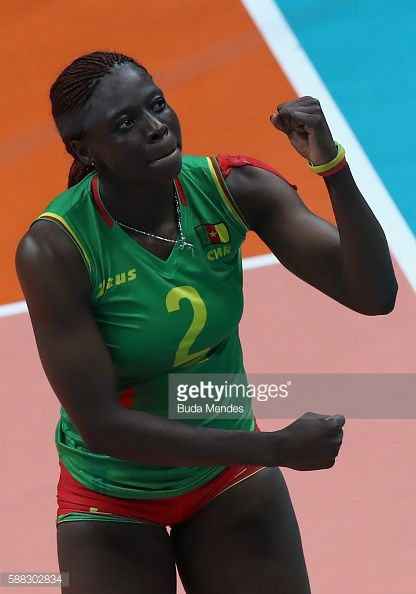 #RIO2016 Christelle Nana of Cameroon celebrates a point during the women's qualifying volleyball match between the Russia and Cameroon on Day 5 of the Rio...