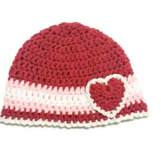 New baby Valentine hat listed in my shop.