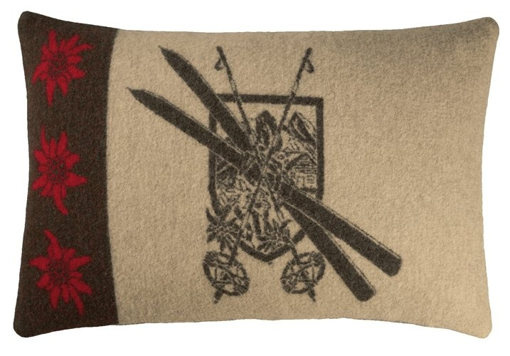 Ski Chalet Chic wool pillows and blankets.