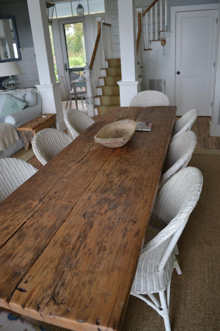 wide plank farm table is awesome and simple like it with the white wicker chairs - Long Wood Dining Table