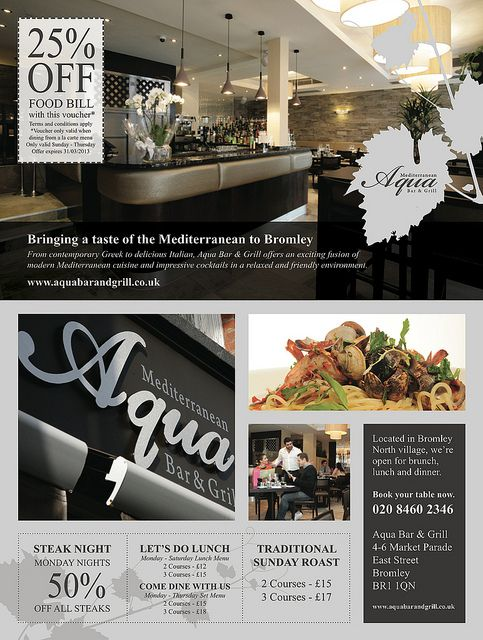 Ad design for Aqua Bar & Grill, Bromley by RONIN