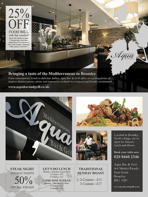 Ad design for Aqua Bar & Grill, Bromley   Flickr - Photo Sharing!