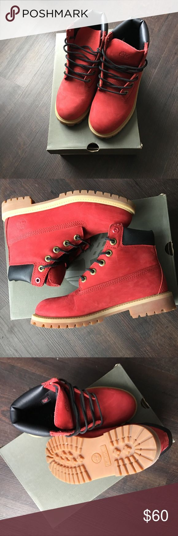 6in Premium Red Timberland Boots WORN ONCE! Size 5 youth (eur 37.5) 6in Premium Red Timberland Boots. Fits women's 7.5-8. Perfect accent to any fall and winter outfit. Pair with dark blue or black denim. Shoes Winter & Rain Boots