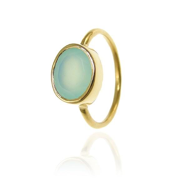 $39.99 - Seafoam Chalcedony Gold Ring