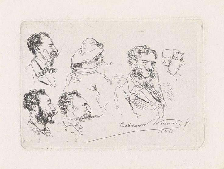 Elchanon Verveer | Studieblad met zes koppen, waaronder de portretten van de broers Verveer, Elchanon Verveer, 1856 | Studieblad met vier koppen van heren met snorren, een kop van een visser en een kop van een boerin. Linksboven het portret van Elchanon Verveer, linksonder het portret van Maurits Verveer en rechts daarnaast het portret van Samuel Verveer.