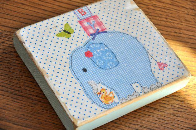 Niebieski słoń - tabliczka na starej deseczce - OLDTREE - Obrazki dla dzieci